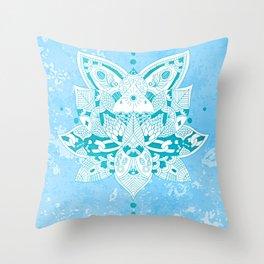 Happiness Mandala Metallic Pastel Blue Teal Throw Pillow