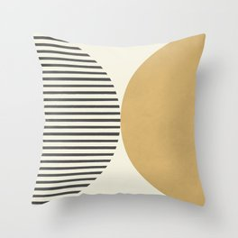 Semicircle Stripes - Gold Throw Pillow