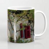 greek Mugs featuring Greek Cottage by Upperleft Studios