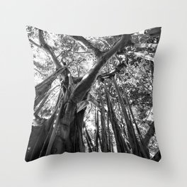 Black and White Banyan Throw Pillow