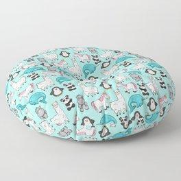 Narwhal,Unicorn, Panda, Llama, Penguin, Hippo, Animal Print For Girls Floor Pillow