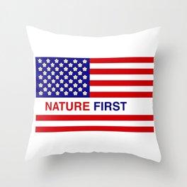 Nature First Throw Pillow