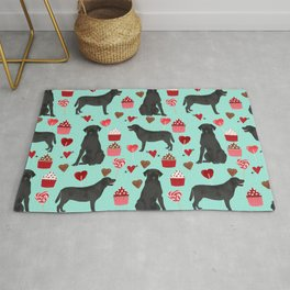 Black Lab love hearts cupcakes valentines day dog breed pet art gifts labrador retriever breed Rug