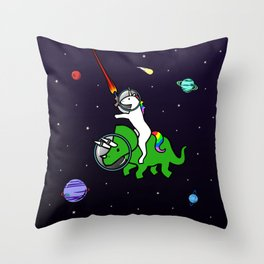 Unicorn Riding Triceratops In Space Throw Pillow