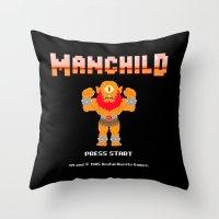 8bit Throw Pillows featuring 8Bit Manchild by manchildtees.com