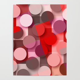 dots & squares red Poster