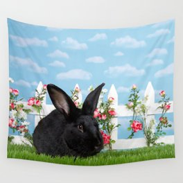 Black bunny in a flower garden Wall Tapestry