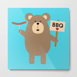 BBQ Brown Bear with Sausage Metal Print