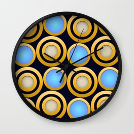 Elegant  Pattern, Striking Gold Rings with Blue, Beige and Dark Blue Background Wall Clock