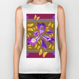 YELLOW & PURPLE BUTTERFLIES PURPLE IRIS BURGUNDY Biker Tank