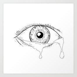 Human Eye Crying Tears Flowing Drawing Art Print
