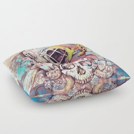 vintage floral skull Floor Pillow