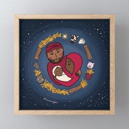 Starry Night Nativity Wreath Framed Mini Art Print