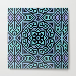 Aqua/Lilac/Black Tribal Pattern Metal Print