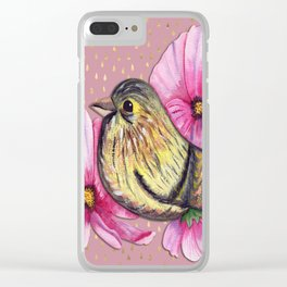 Delicate floral bird on pink and gold raindrop pattern Clear iPhone Case