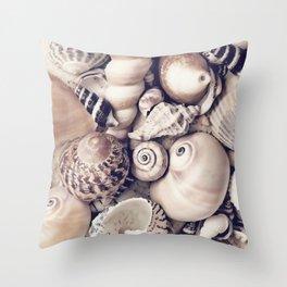 Vintage  Sea Shell Collection Coastal Style Throw Pillow