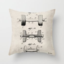Weight Lifting Patent - Dumb Bell Art - Antique Throw Pillow