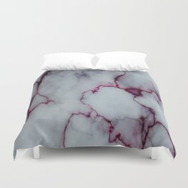 White with Maroon Marbling Duvet Cover