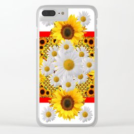 WHITE DAISIES & SUNFLOWERS RED GARDEN  FLORAL Clear iPhone Case