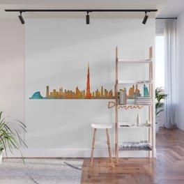 Dubai, emirates, City Cityscape Skyline watercolor art v1 Wall Mural