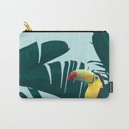 Green Toucan Tropical Banana Leaves Pattern Carry-All Pouch
