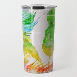 Colorful tropical leaves vintage design Travel Mug