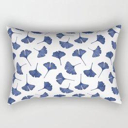 Blue Ginkgo Biloba Pattern Rectangular Pillow