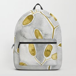 Gold Leaves On Gray Backpack