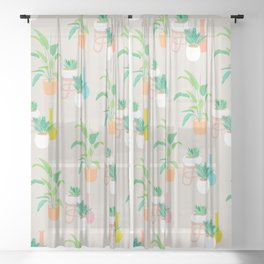Pretty tropical plant pattern on taupe Sheer Curtain