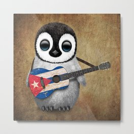 Baby Penguin Playing Cuban Flag Guitar Metal Print