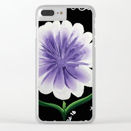 Large Flower Filigree Scroll Floral Art Acrylic Painting Purple Flower Clear iPhone Case