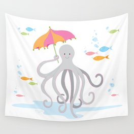 Sweet octopus with a Parasol Wall Tapestry