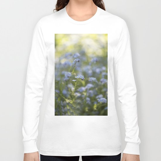 Forget me not in LOVE - Blue Flower Floral Spring Flowers on #Society6 Long Sleeve T-shirt