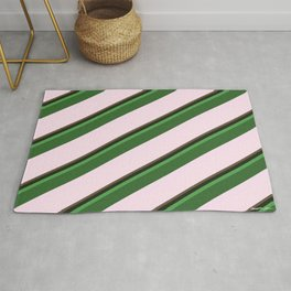 Pink Roses in Anzures 2 Stripes 5D Rug