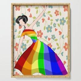 Ballet wall decor, Ballerina art print, Floral background, Digital download, Modern minimalist Serving Tray