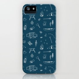 Simple Camping blue iPhone Case