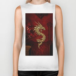 Wonderful golden chinese dragon Biker Tank