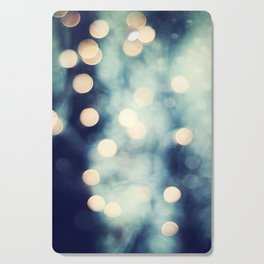 Bokeh Lights Sparkle Photography, Navy Gold Sparkly Abstract Photograph Cutting Board