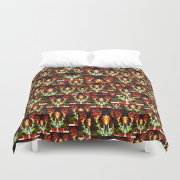 Symmetrical Red Flowers in Striped Pot Duvet Cover
