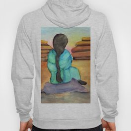Woman Sitting on Rock Hoody