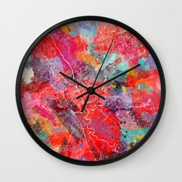 Columbia map South Carolina painting 2 Wall Clock