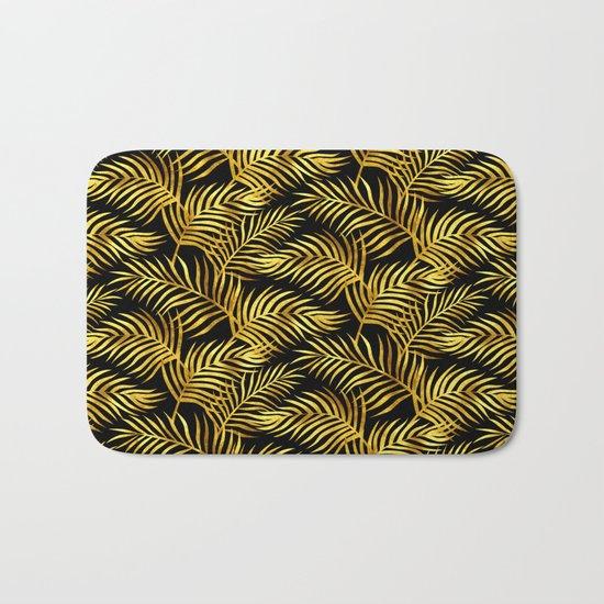 Palm Leaves_Gold and Black Bath Mat