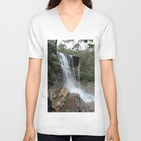 waterfall V-neck T-shirts featuring waterfall by LynsArtStudio