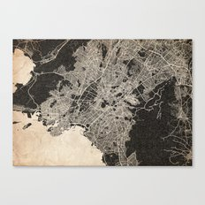 athens map ink lines Canvas Print
