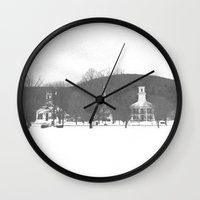 vermont Wall Clocks featuring Vermont Churches by BACK to THE ROOTS