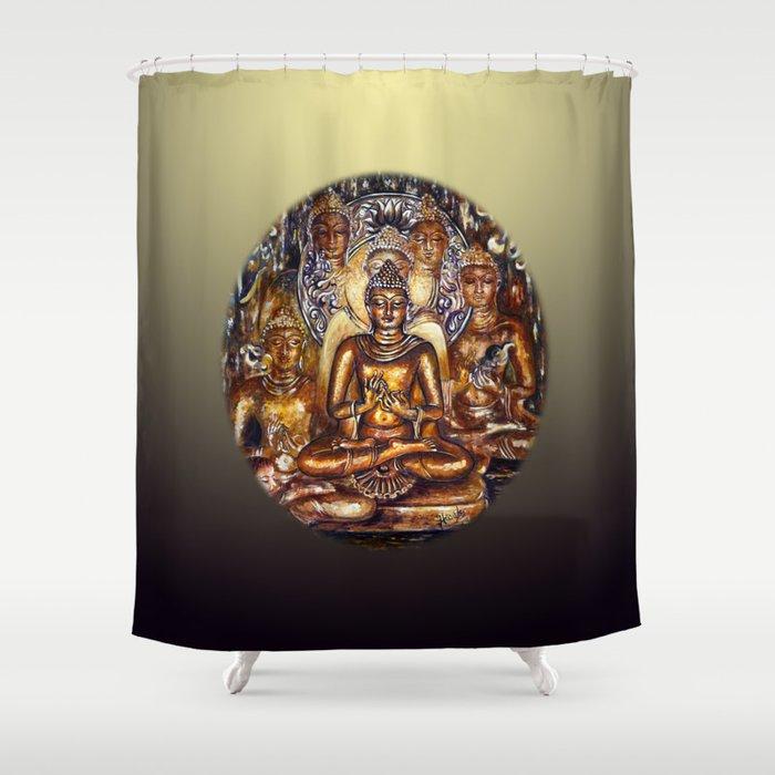 Gold Buddha Shower Curtain