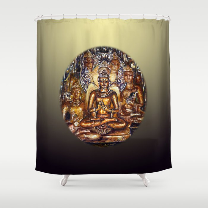 Gold Buddha Shower Curtain By Hlmalik