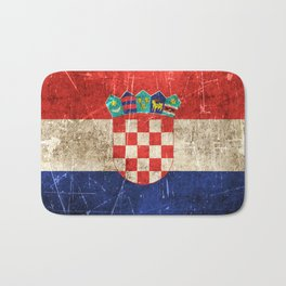 Vintage Aged and Scratched Croatian Flag Bath Mat