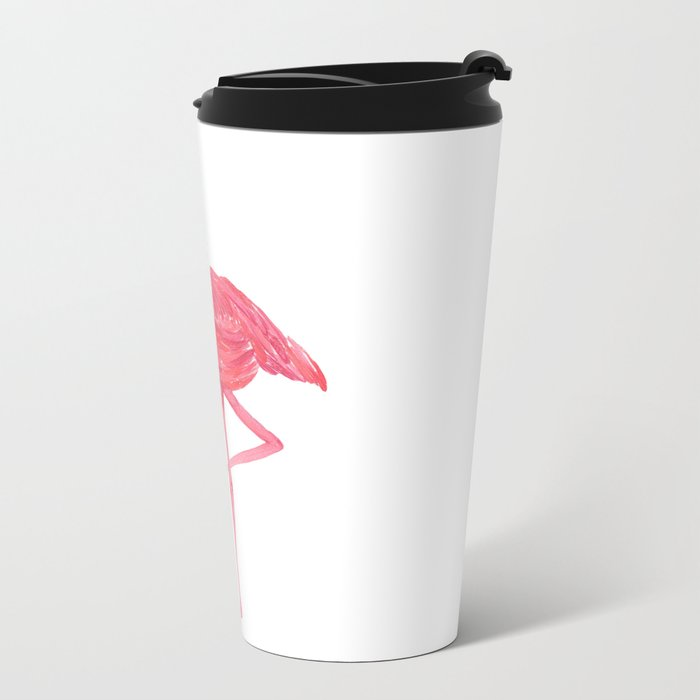 Flamingo fuchsia flap Metal Travel Mug