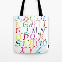 alphabet Tote Bags featuring Alphabet by Bridget Davidson